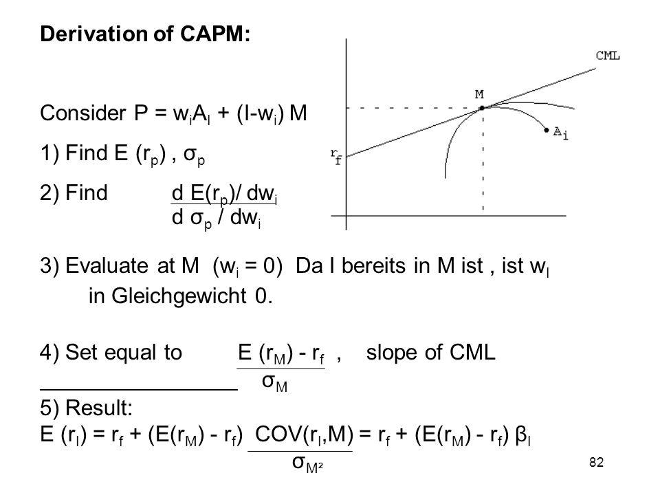 82 Derivation of CAPM: Consider P = w i A I + (I-w i ) M 1) Find E (r p ), σ p 2) Find d E(r p )/ dw i d σ p / dw i 3) Evaluate at M (w i = 0) Da I be