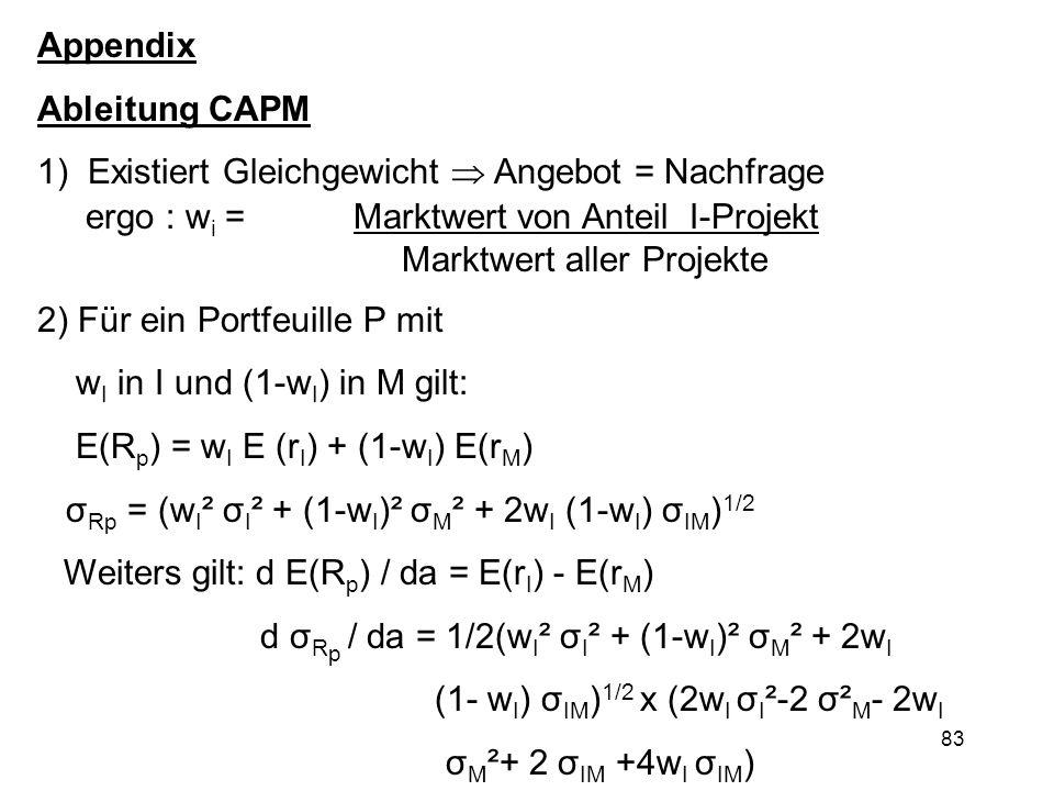 83 Appendix Ableitung CAPM 1) Existiert Gleichgewicht Angebot = Nachfrage ergo : w i = Marktwert von Anteil I-Projekt Marktwert aller Projekte 2) Für