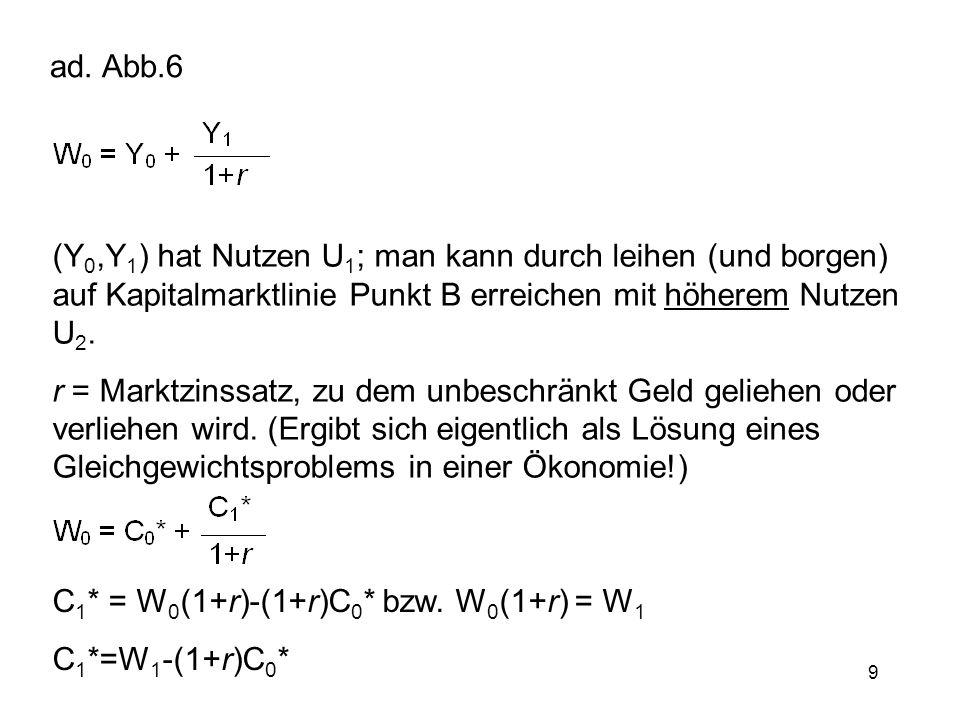 9 ad. Abb.6 (Y 0,Y 1 ) hat Nutzen U 1 ; man kann durch leihen (und borgen) auf Kapitalmarktlinie Punkt B erreichen mit höherem Nutzen U 2. r = Marktzi