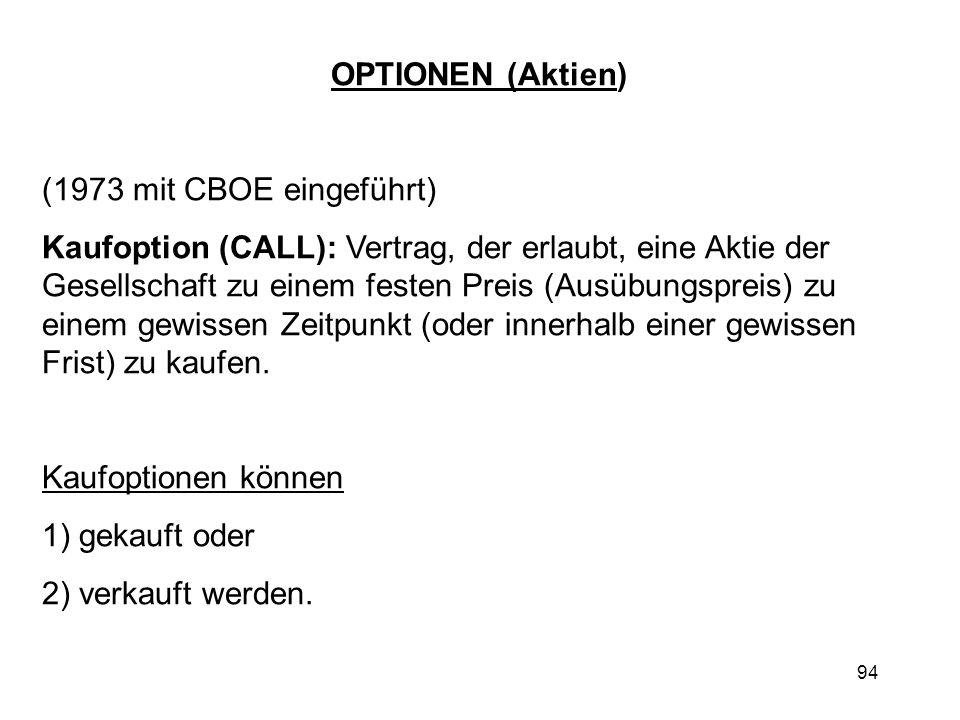 94 OPTIONEN (Aktien) (1973 mit CBOE eingeführt) Kaufoption (CALL): Vertrag, der erlaubt, eine Aktie der Gesellschaft zu einem festen Preis (Ausübungsp