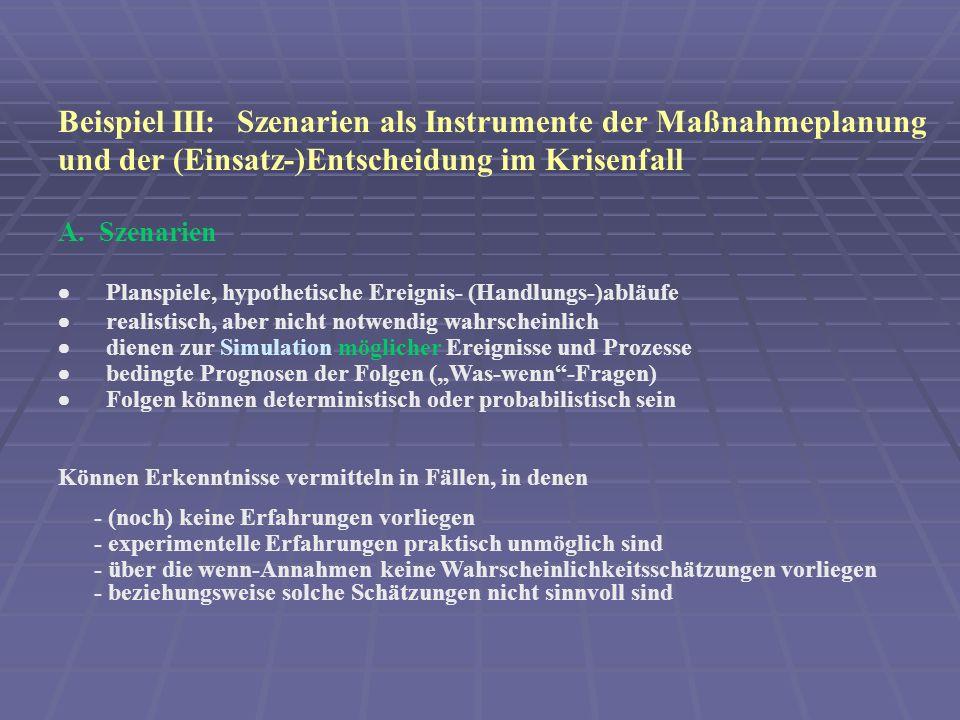 Beispiel III: Szenarien als Instrumente der Maßnahmeplanung und der (Einsatz-)Entscheidung im Krisenfall A.
