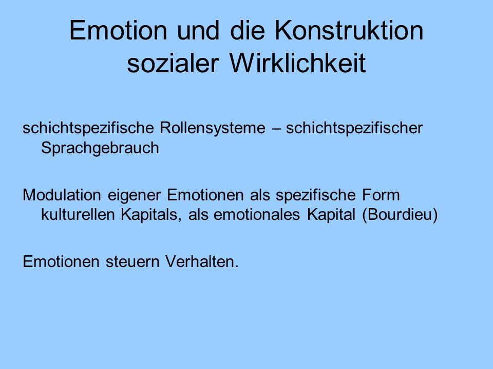 Emotion und die Konstruktion sozialer Wirklichkeit schichtspezifische Rollensysteme – schichtspezifischer Sprachgebrauch Modulation eigener Emotionen als spezifische Form kulturellen Kapitals, als emotionales Kapital (Bourdieu) Emotionen steuern Verhalten.