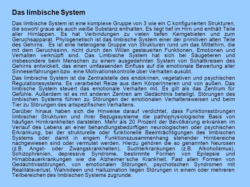 Das limbische System Das limbische System ist eine komplexe Gruppe von 3 wie ein C konfigurierten Strukturen, die sowohl graue als auch weiße Substanz enthalten.