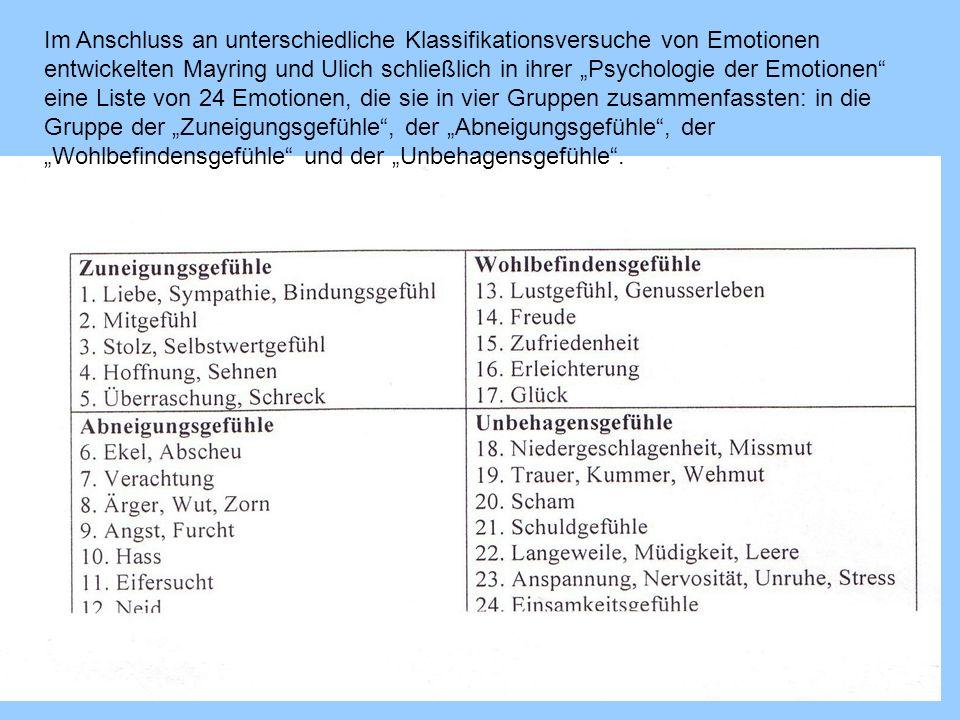 Im Anschluss an unterschiedliche Klassifikationsversuche von Emotionen entwickelten Mayring und Ulich schließlich in ihrer Psychologie der Emotionen eine Liste von 24 Emotionen, die sie in vier Gruppen zusammenfassten: in die Gruppe der Zuneigungsgefühle, der Abneigungsgefühle, der Wohlbefindensgefühle und der Unbehagensgefühle.