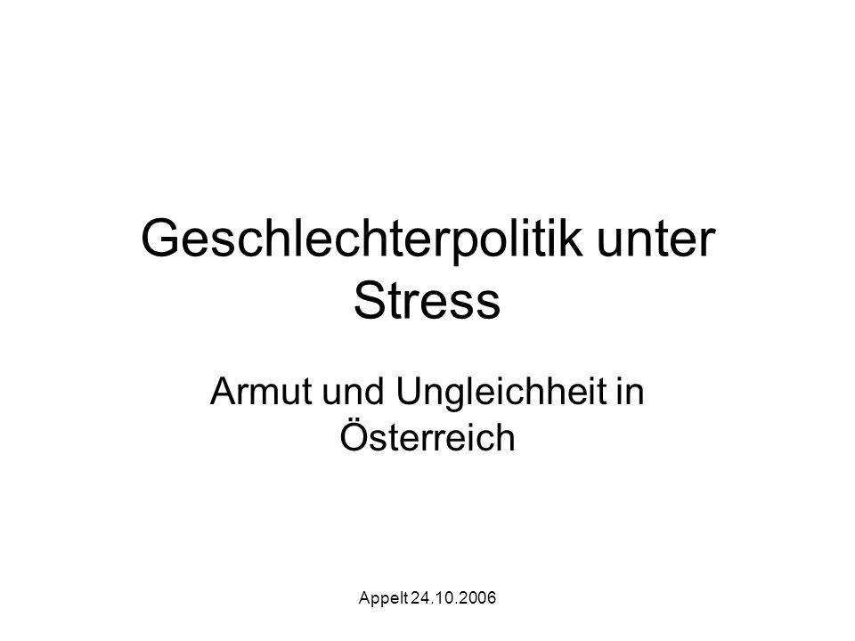 Appelt 24.10.2006 Geschlechterpolitik unter Stress Armut und Ungleichheit in Österreich