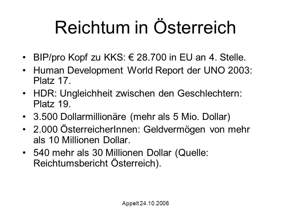 Appelt 24.10.2006 Reichtum in Österreich BIP/pro Kopf zu KKS: 28.700 in EU an 4.