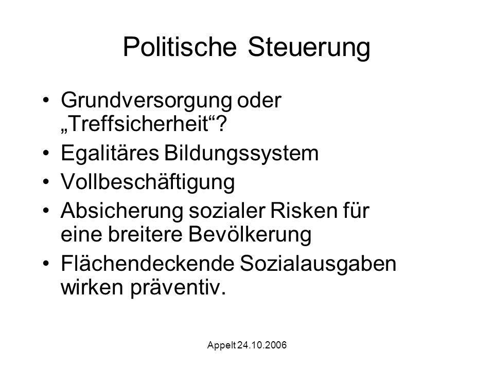 Appelt 24.10.2006 Politische Steuerung Grundversorgung oder Treffsicherheit.