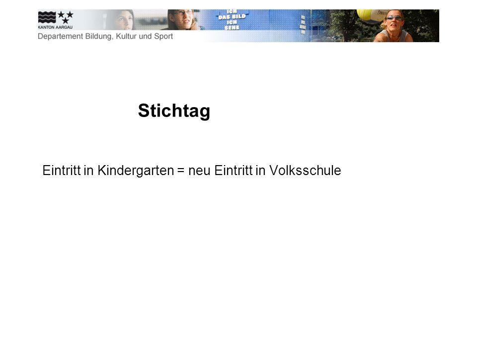 Stichtag Eintritt in Kindergarten = neu Eintritt in Volksschule