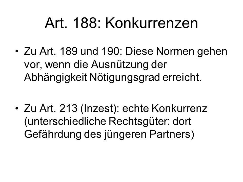 Art.188: Konkurrenzen Zu Art.