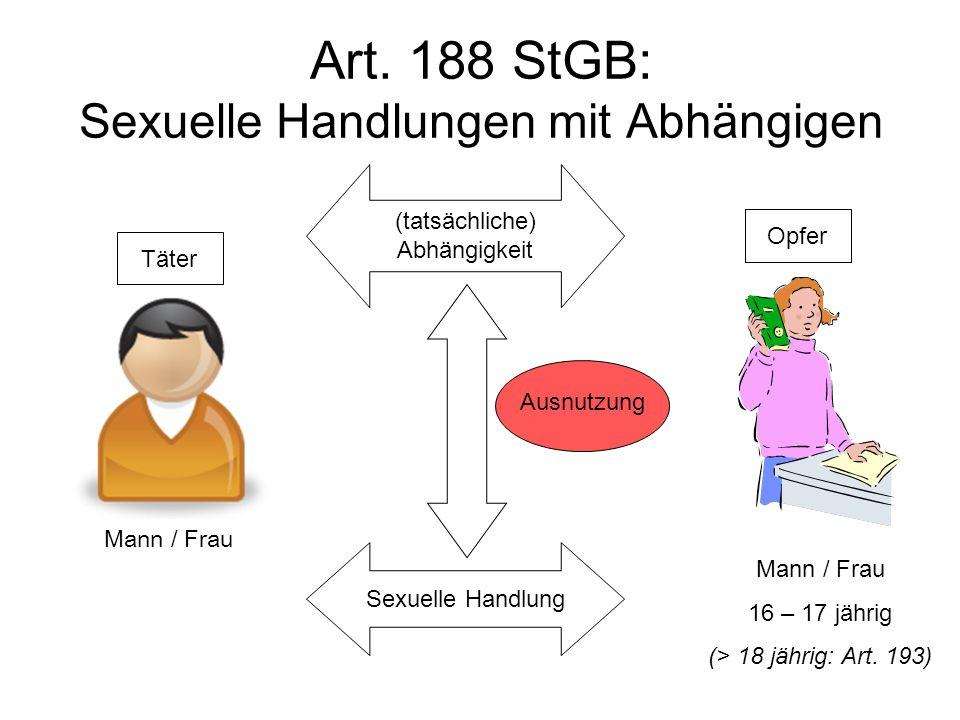 Art.188 StGB: Sexuelle Handlungen mit Abhängigen Mann / Frau 16 – 17 jährig (> 18 jährig: Art.