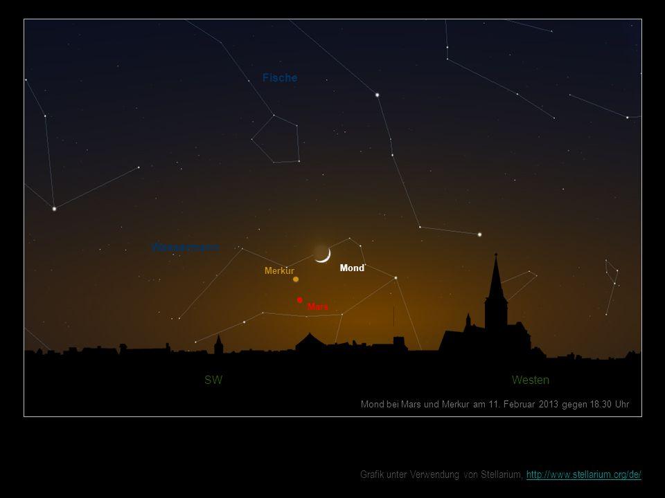 Mond bei Mars und Merkur am 11. Februar 2013 gegen 18.30 Uhr Fische SW Westen Mond Wassermann Mars Merkur Grafik unter Verwendung von Stellarium, http
