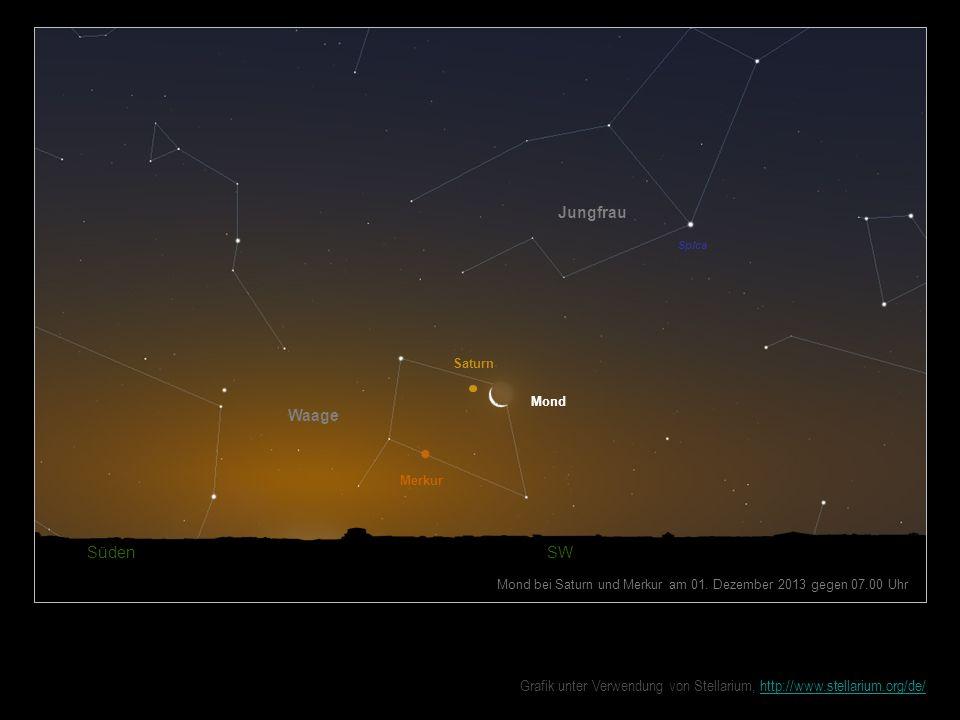 Mond Süden SW Mond bei Saturn und Merkur am 01. Dezember 2013 gegen 07.00 Uhr Jungfrau Saturn Waage Merkur Spica Grafik unter Verwendung von Stellariu