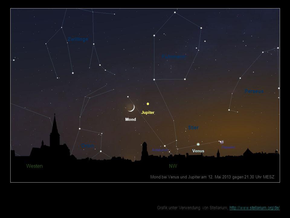 Venus Mond Jupiter Westen NW Mond bei Venus und Jupiter am 12. Mai 2013 gegen 21.30 Uhr MESZ Zwillinge Fuhrmann Perseus Stier Orion Plejaden Aldebaran