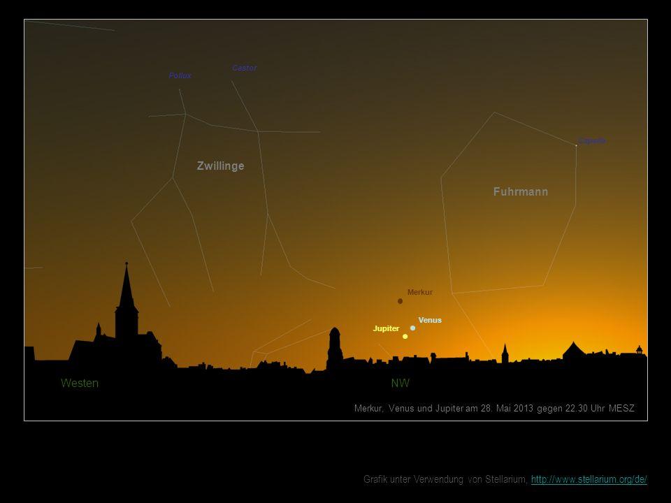 Westen NW Merkur, Venus und Jupiter am 28. Mai 2013 gegen 22.30 Uhr MESZ Zwillinge Fuhrmann Castor Pollux Capella Venus Merkur Jupiter Grafik unter Ve