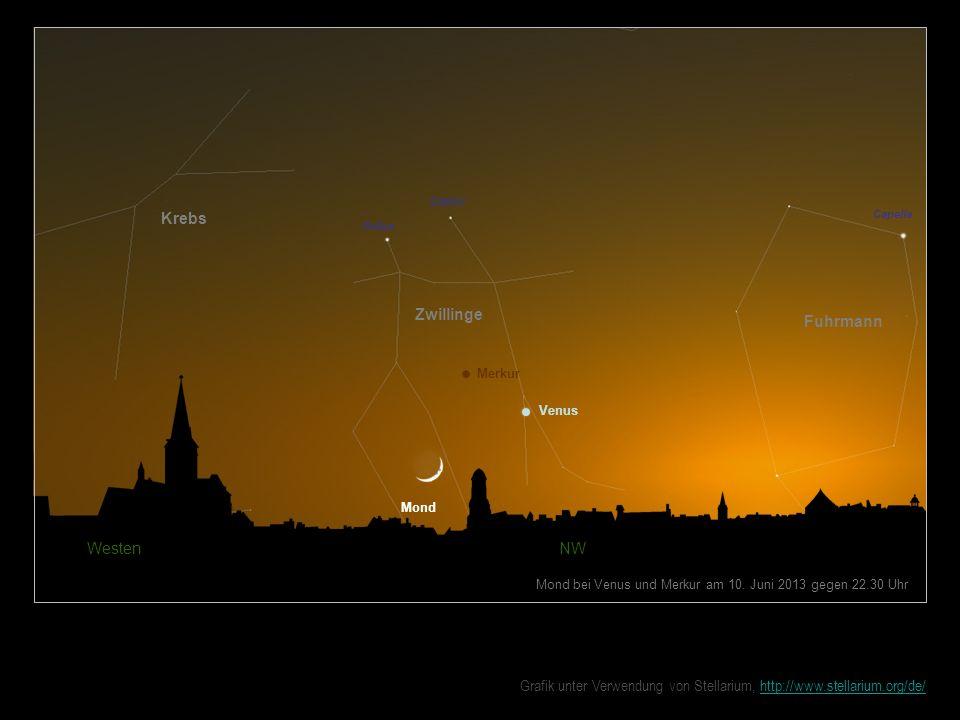 Mond Westen NW Mond bei Venus und Merkur am 10. Juni 2013 gegen 22.30 Uhr Zwillinge Fuhrmann Krebs Castor Venus Pollux Merkur Capella Grafik unter Ver