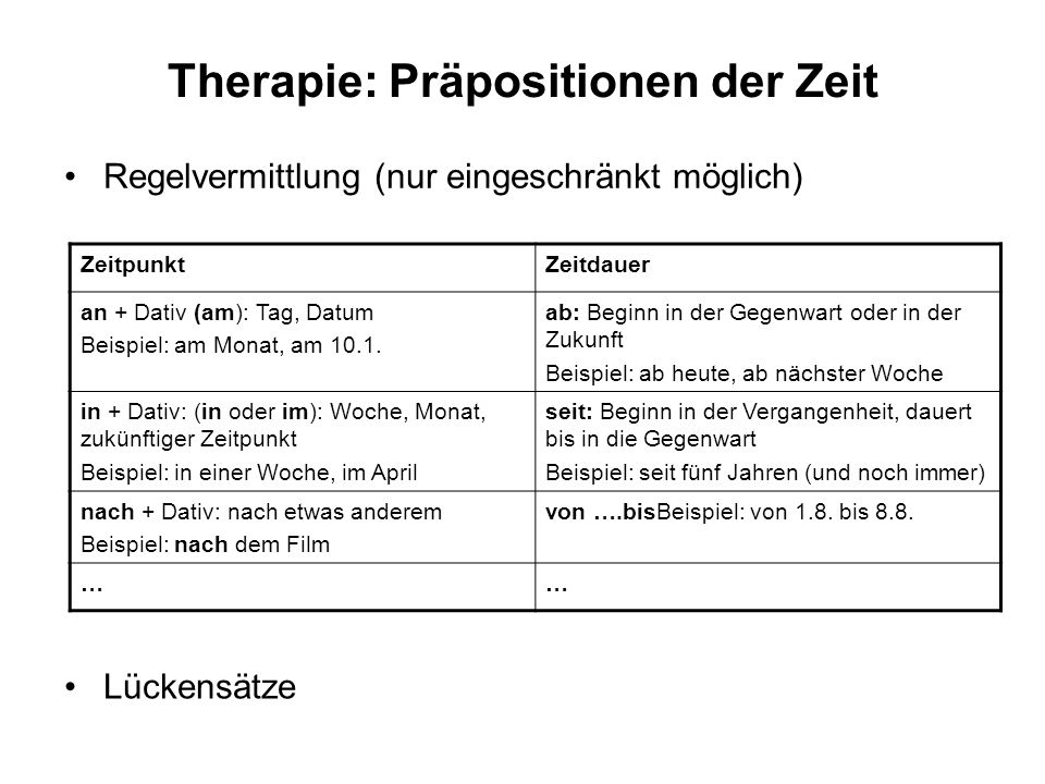 Therapie: Präpositionen der Zeit Lückensätze ZeitpunktZeitdauer an + Dativ (am): Tag, Datum Beispiel: am Monat, am 10.1. ab: Beginn in der Gegenwart o