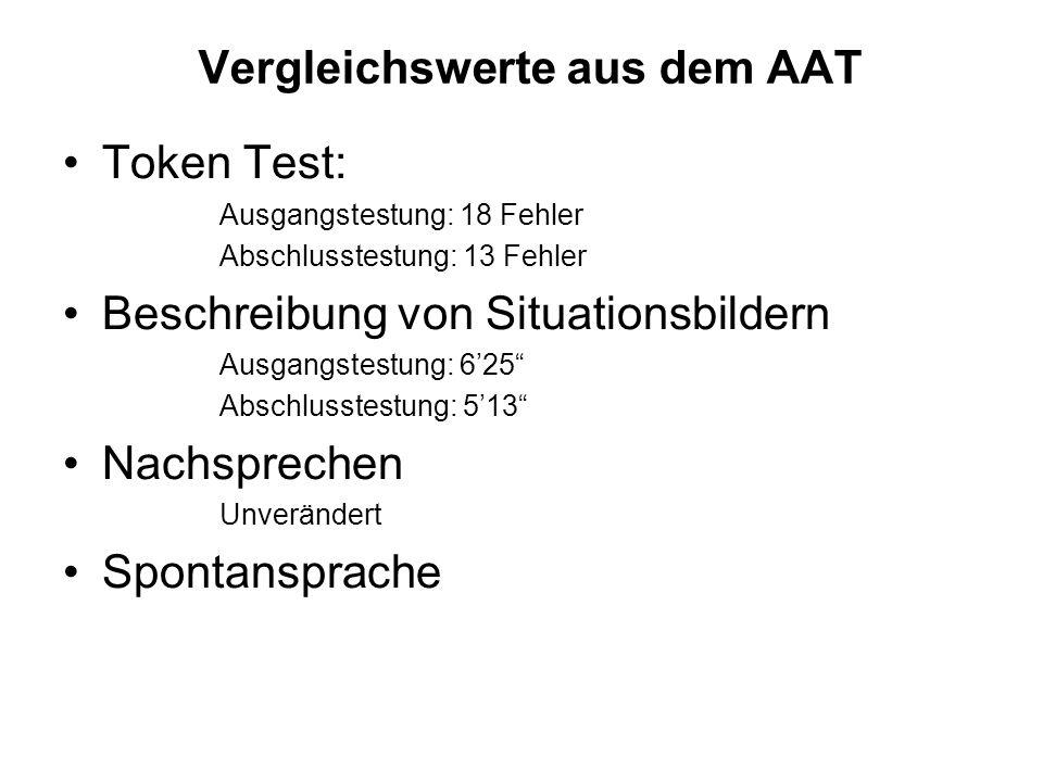 Vergleichswerte aus dem AAT Token Test: Ausgangstestung: 18 Fehler Abschlusstestung: 13 Fehler Beschreibung von Situationsbildern Ausgangstestung: 625