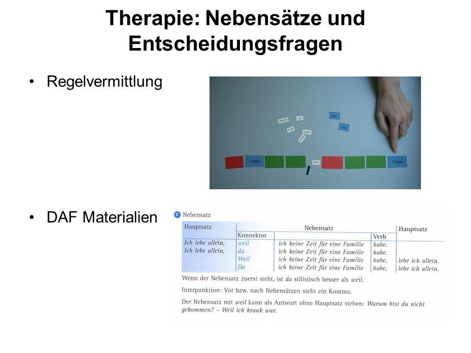 Therapie: Nebensätze und Entscheidungsfragen Regelvermittlung DAF Materialien