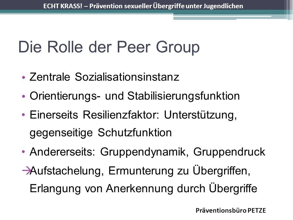 ECHT KRASS! – Prävention sexueller Übergriffe unter Jugendlichen Die Rolle der Peer Group Zentrale Sozialisationsinstanz Orientierungs- und Stabilisie