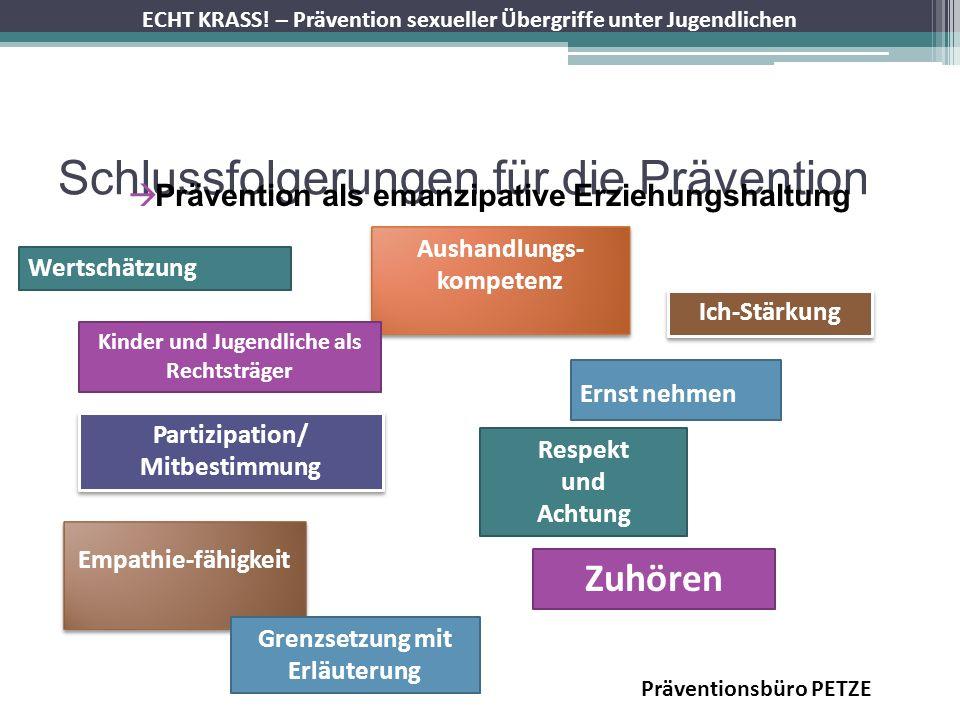 ECHT KRASS! – Prävention sexueller Übergriffe unter Jugendlichen Schlussfolgerungen für die Prävention Prävention als emanzipative Erziehungshaltung P