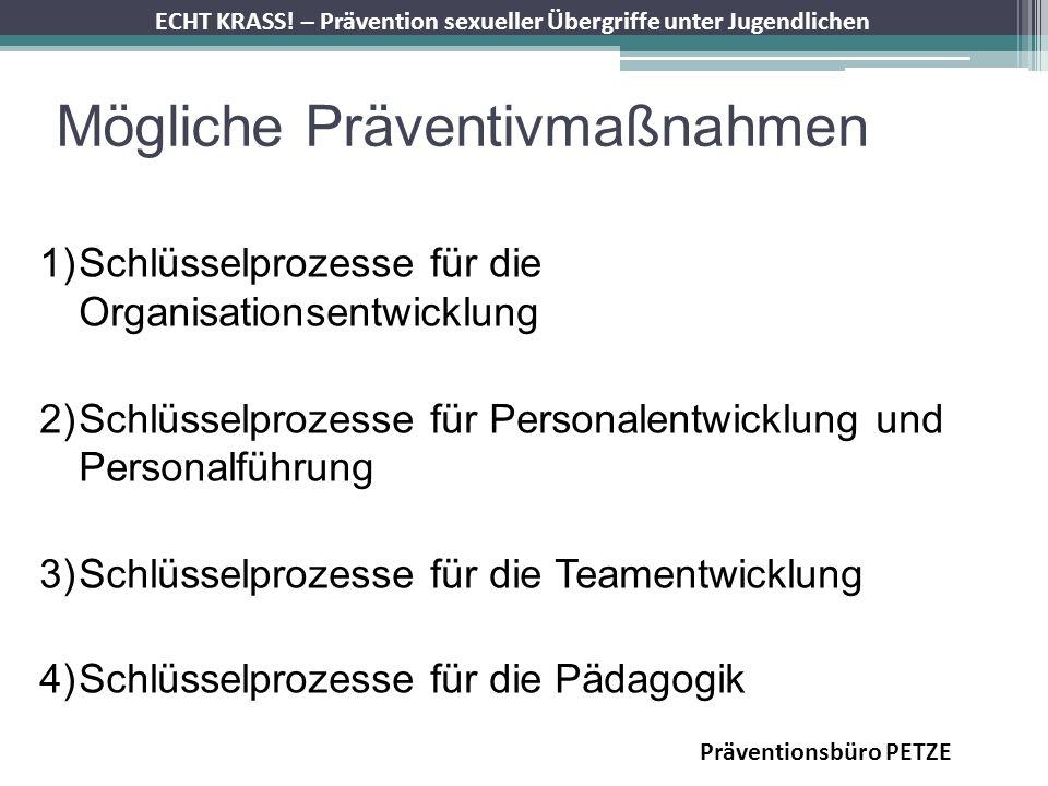 ECHT KRASS! – Prävention sexueller Übergriffe unter Jugendlichen Mögliche Präventivmaßnahmen 1)Schlüsselprozesse für die Organisationsentwicklung 2)Sc