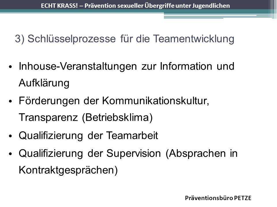 ECHT KRASS! – Prävention sexueller Übergriffe unter Jugendlichen 3) Schlüsselprozesse für die Teamentwicklung Inhouse-Veranstaltungen zur Information