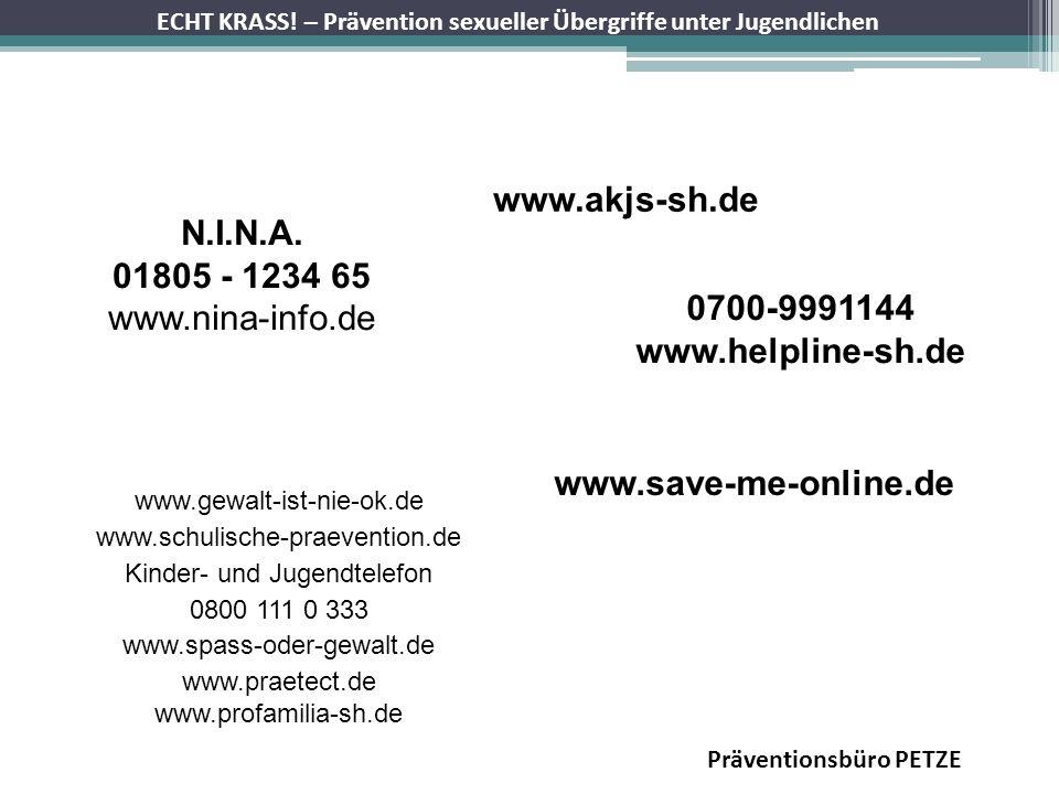 ECHT KRASS! – Prävention sexueller Übergriffe unter Jugendlichen Präventionsbüro PETZE N.I.N.A. 01805 - 1234 65 www.nina-info.de 0700-9991144 www.help