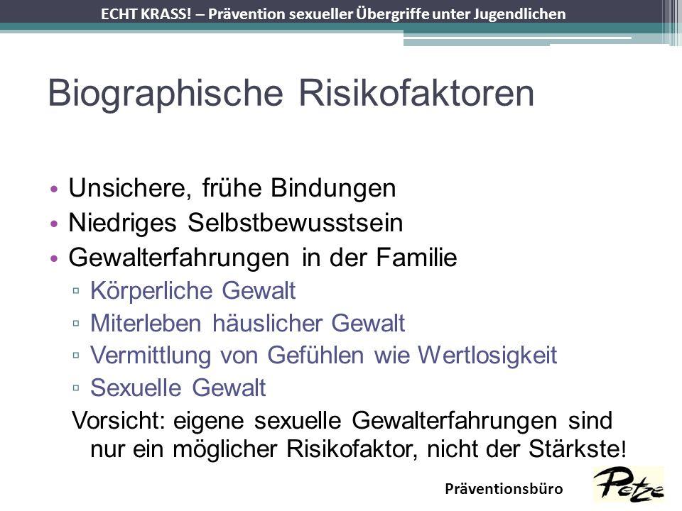 ECHT KRASS! – Prävention sexueller Übergriffe unter Jugendlichen Präventionsbüro Biographische Risikofaktoren Unsichere, frühe Bindungen Niedriges Sel