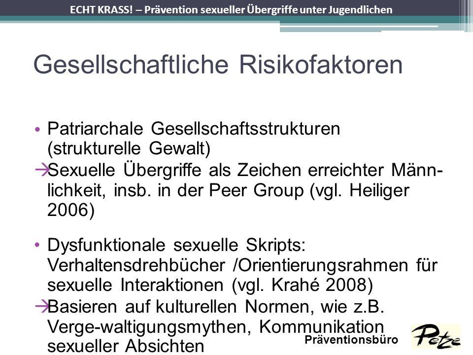 ECHT KRASS! – Prävention sexueller Übergriffe unter Jugendlichen Präventionsbüro Gesellschaftliche Risikofaktoren Patriarchale Gesellschaftsstrukturen