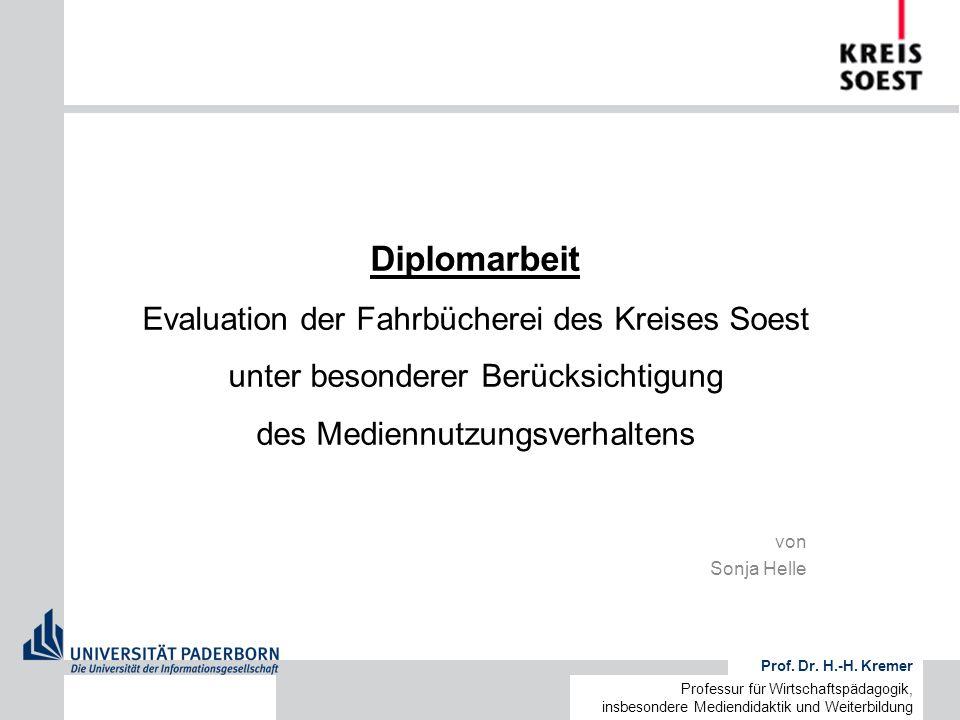von Sonja Helle Prof. Dr. H.-H. Kremer Professur für Wirtschaftspädagogik, insbesondere Mediendidaktik und Weiterbildung Diplomarbeit Evaluation der F