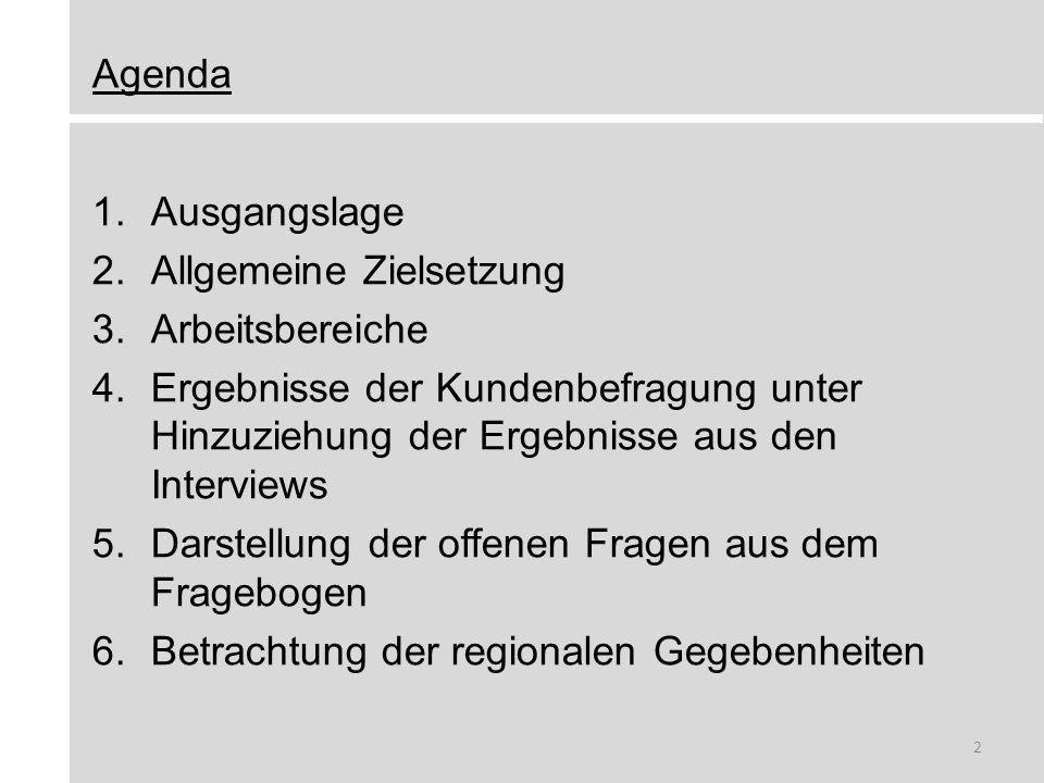 Agenda 1.Ausgangslage 2.Allgemeine Zielsetzung 3.Arbeitsbereiche 4.Ergebnisse der Kundenbefragung unter Hinzuziehung der Ergebnisse aus den Interviews