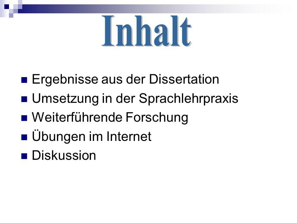Ergebnisse aus der Dissertation Umsetzung in der Sprachlehrpraxis Weiterführende Forschung Übungen im Internet Diskussion