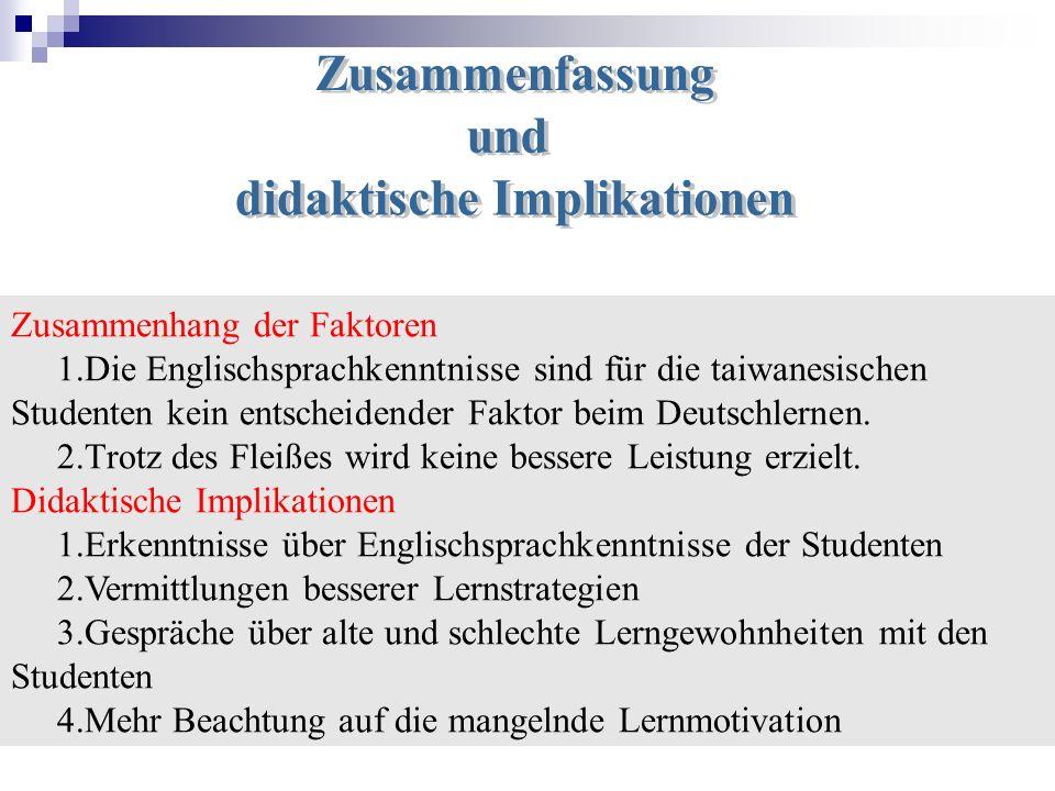 Zusammenhang der Faktoren 1.Die Englischsprachkenntnisse sind für die taiwanesischen Studenten kein entscheidender Faktor beim Deutschlernen. 2.Trotz