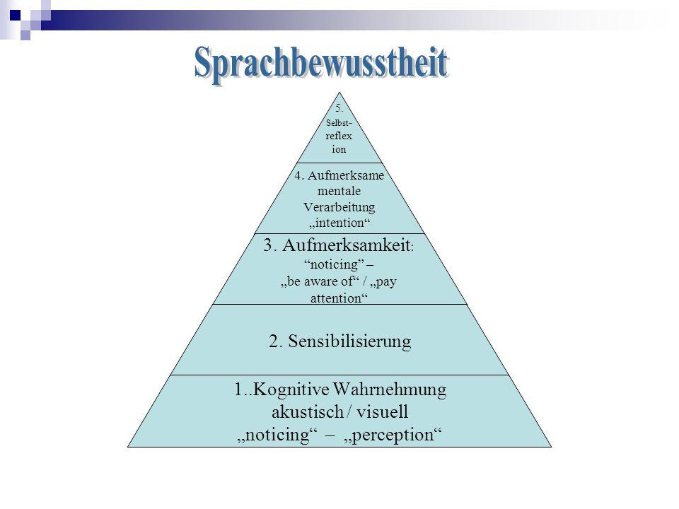 5. Selbst- reflexion 4. Aufmerksame mentale Verarbeitung intention 3. Aufmerksamkeit: noticing – be aware of / pay attention 2. Sensibilisierung 1..Ko