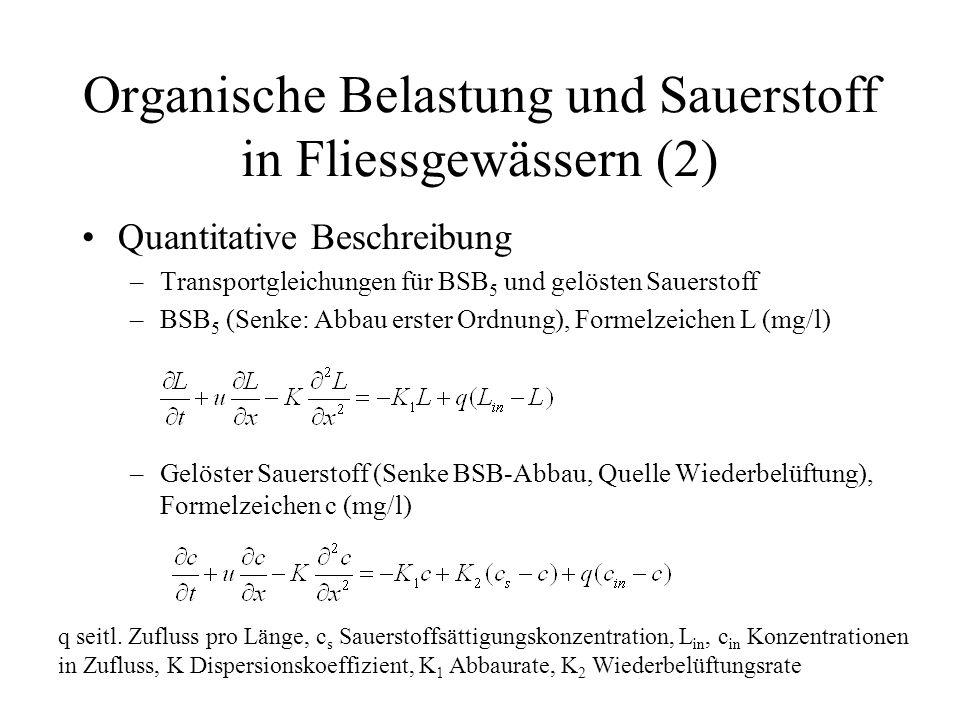 Organische Belastung und Sauerstoff in Fliessgewässern (2) Quantitative Beschreibung –Transportgleichungen für BSB 5 und gelösten Sauerstoff –BSB 5 (S