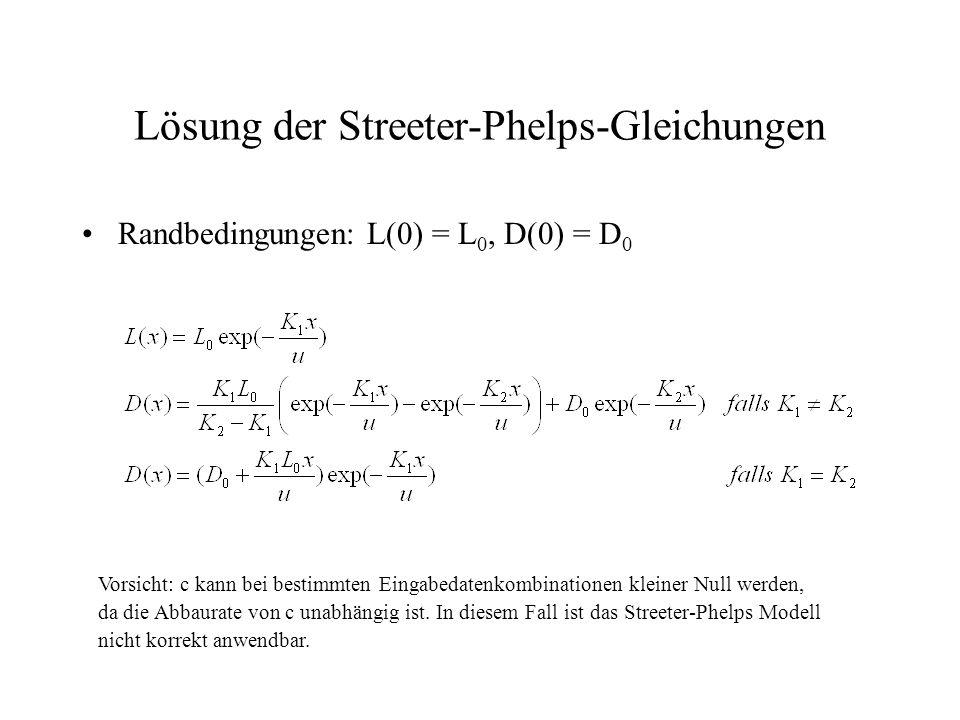 Lösung der Streeter-Phelps-Gleichungen Randbedingungen: L(0) = L 0, D(0) = D 0 Vorsicht: c kann bei bestimmten Eingabedatenkombinationen kleiner Null