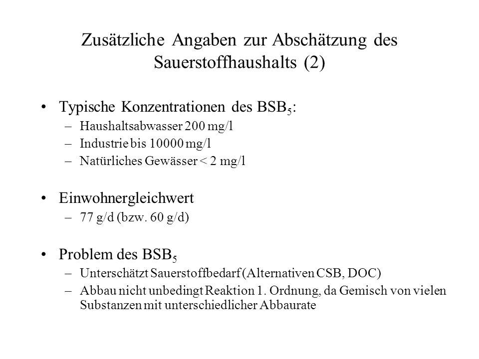 Zusätzliche Angaben zur Abschätzung des Sauerstoffhaushalts (2) Typische Konzentrationen des BSB 5 : –Haushaltsabwasser 200 mg/l –Industrie bis 10000