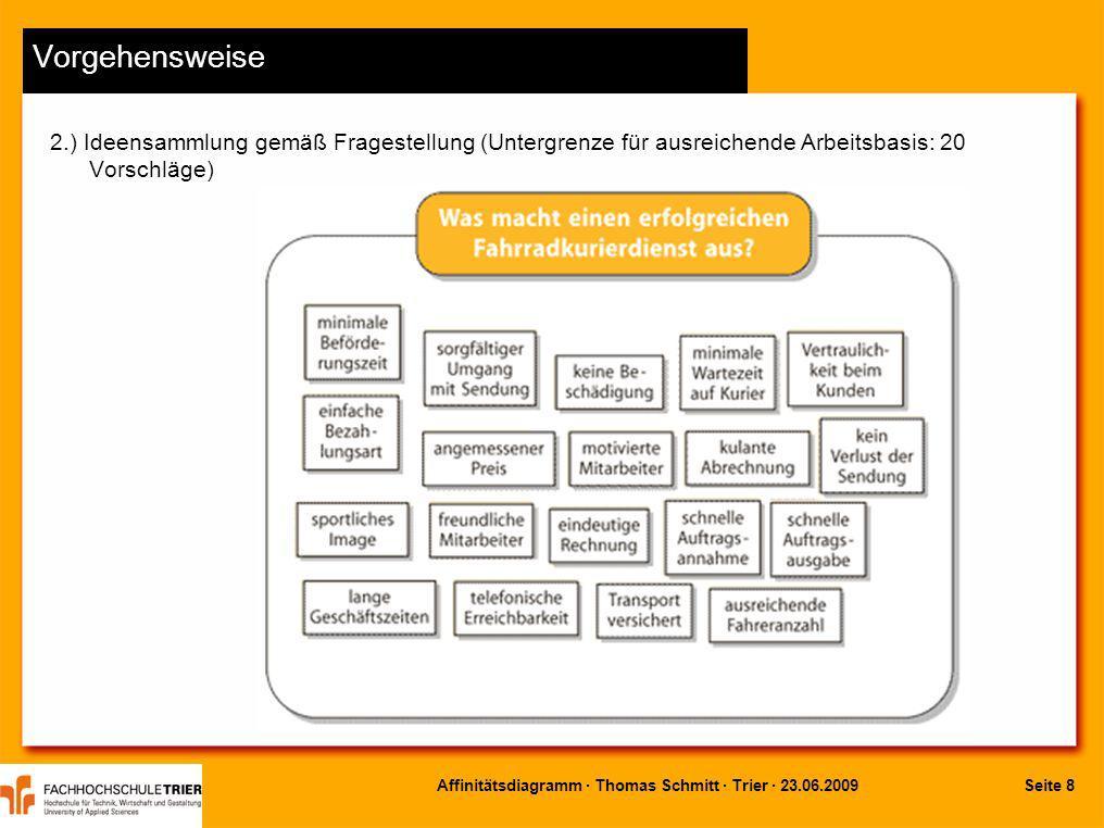 Seite 9Affinitätsdiagramm · Thomas Schmitt · Trier · 23.06.2009 Vorgehensweise 3.) Clustern, d.h.