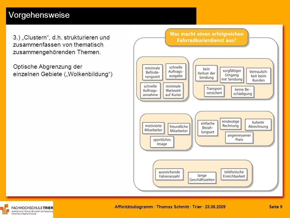 Seite 9Affinitätsdiagramm · Thomas Schmitt · Trier · 23.06.2009 Vorgehensweise 3.) Clustern, d.h. strukturieren und zusammenfassen von thematisch zusa