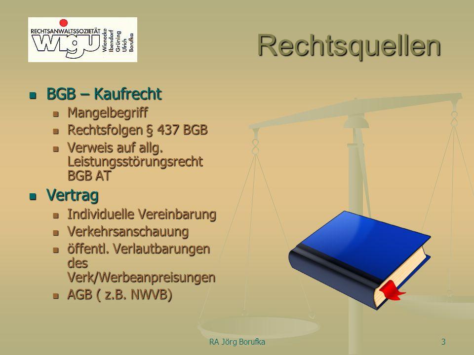 RA Jörg Borufka3 Rechtsquellen BGB – Kaufrecht Mangelbegriff Rechtsfolgen § 437 BGB Verweis auf allg.
