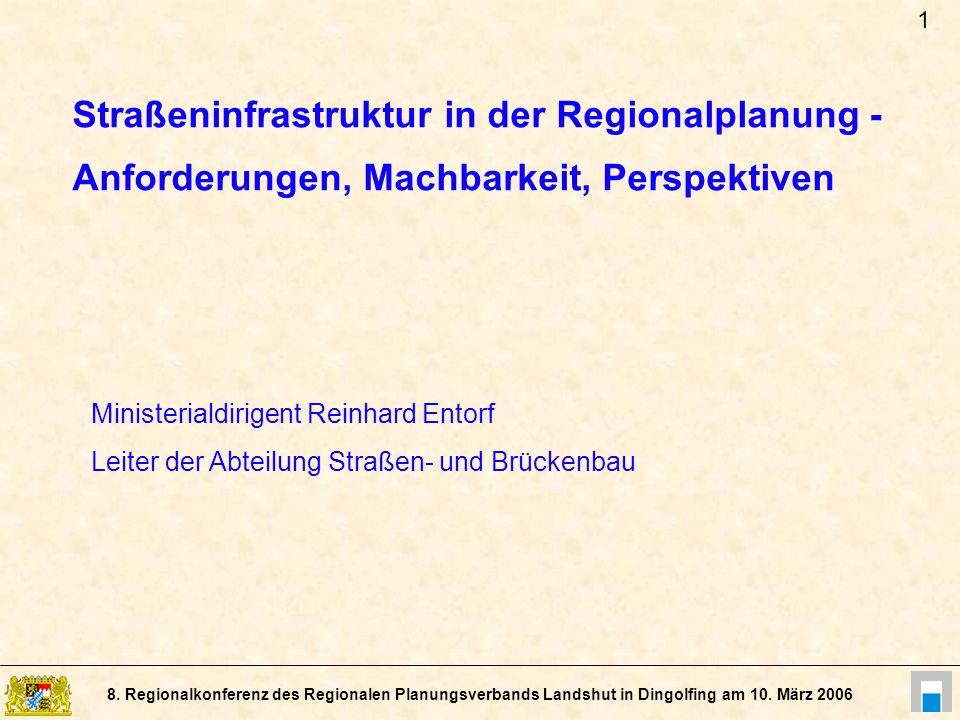 8. Regionalkonferenz des Regionalen Planungsverbands Landshut in Dingolfing am 10. März 2006 Straßeninfrastruktur in der Regionalplanung - Anforderung