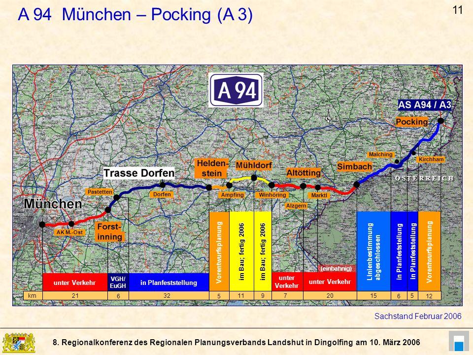 8. Regionalkonferenz des Regionalen Planungsverbands Landshut in Dingolfing am 10. März 2006 Dorfen Pastetten Vorentwurfsplanung unter Verkehr VGH/ Eu