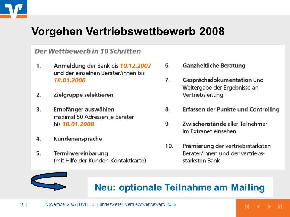 November 2007|BVR | 3. Bundesweiter Vertriebswettbewerb 200810 | Vorgehen Vertriebswettbewerb 2008 Neu: optionale Teilnahme am Mailing