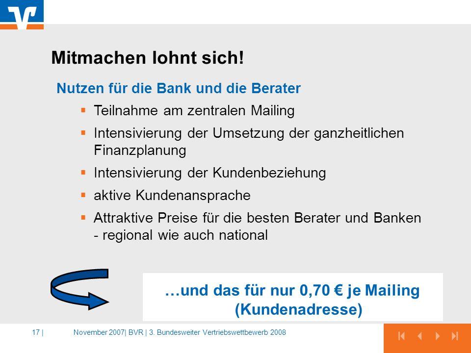 November 2007|BVR | 3. Bundesweiter Vertriebswettbewerb 200817 | …und das für nur 0,70 je Mailing (Kundenadresse) Nutzen für die Bank und die Berater