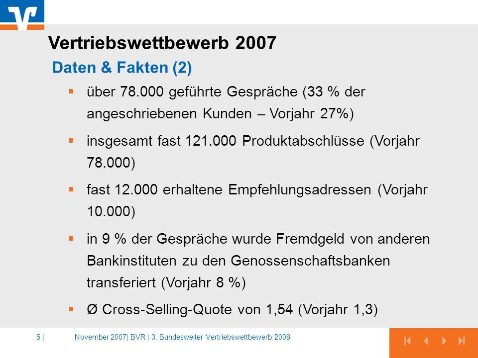 November 2007|BVR | 3. Bundesweiter Vertriebswettbewerb 20085 | über 78.000 geführte Gespräche (33 % der angeschriebenen Kunden – Vorjahr 27%) insgesa