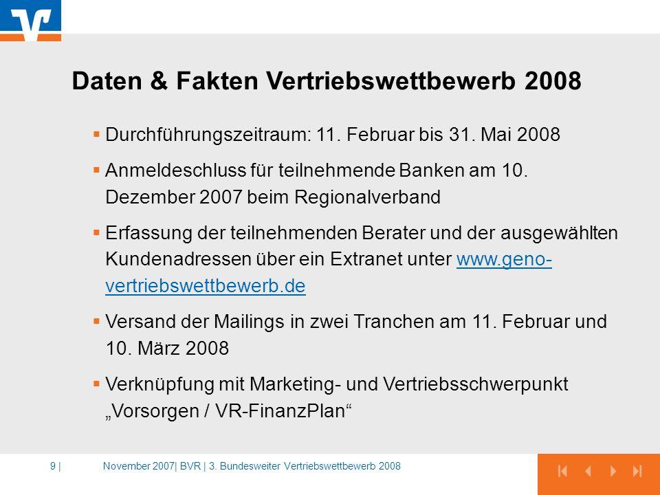 November 2007|BVR | 3. Bundesweiter Vertriebswettbewerb 20089 | Durchführungszeitraum: 11. Februar bis 31. Mai 2008 Anmeldeschluss für teilnehmende Ba