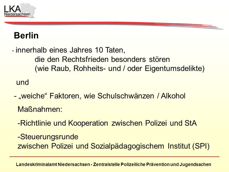 Landeskriminalamt Niedersachsen - Zentralstelle Polizeiliche Prävention und Jugendsachen Berlin - innerhalb eines Jahres 10 Taten, die den Rechtsfrieden besonders stören (wie Raub, Rohheits- und / oder Eigentumsdelikte) und - weiche Faktoren, wie Schulschwänzen / Alkohol Maßnahmen: -Richtlinie und Kooperation zwischen Polizei und StA -Steuerungsrunde zwischen Polizei und Sozialpädagogischem Institut (SPI)