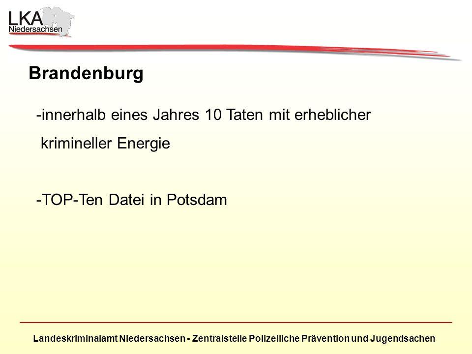 Landeskriminalamt Niedersachsen - Zentralstelle Polizeiliche Prävention und Jugendsachen Brandenburg -innerhalb eines Jahres 10 Taten mit erheblicher