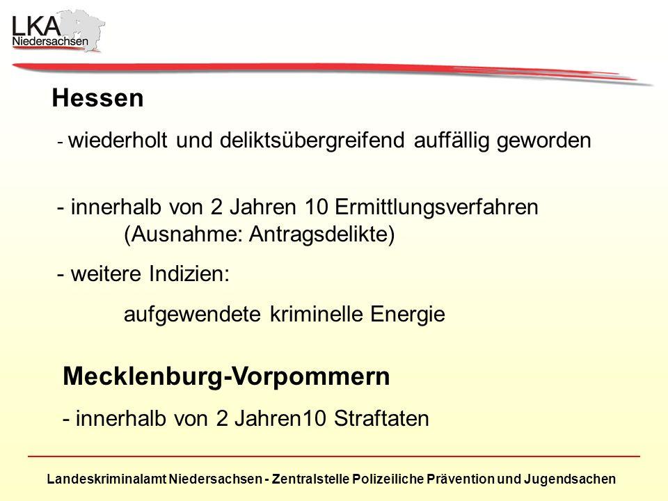 Landeskriminalamt Niedersachsen - Zentralstelle Polizeiliche Prävention und Jugendsachen Hessen - wiederholt und deliktsübergreifend auffällig geworden - innerhalb von 2 Jahren 10 Ermittlungsverfahren (Ausnahme: Antragsdelikte) - weitere Indizien: aufgewendete kriminelle Energie Mecklenburg-Vorpommern - innerhalb von 2 Jahren10 Straftaten