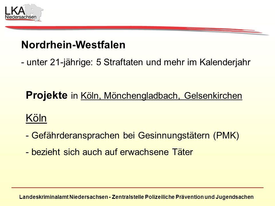 Landeskriminalamt Niedersachsen - Zentralstelle Polizeiliche Prävention und Jugendsachen Nordrhein-Westfalen - unter 21-jährige: 5 Straftaten und mehr im Kalenderjahr Projekte in Köln, Mönchengladbach, Gelsenkirchen Köln - Gefährderansprachen bei Gesinnungstätern (PMK) - bezieht sich auch auf erwachsene Täter